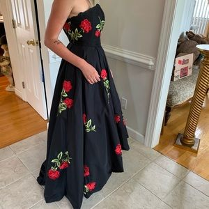 Sherri Hill Strapless Black Floral High Low Dress
